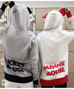 На картинке толстовка Микки Маус с ушками (ушами) на капюшоне, вид сзади, 2 варианта.