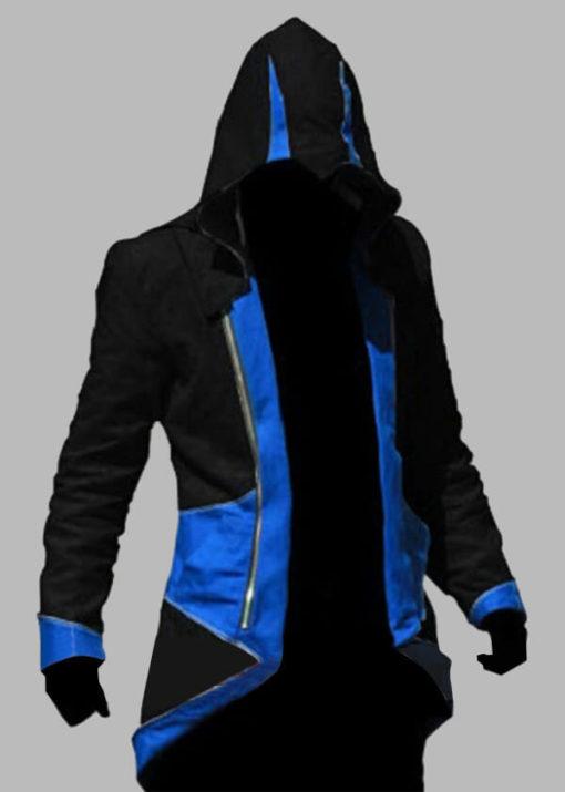 На картинке толстовка Ассасина exclusive (Ассасин крид), черно-синяя, вид спереди.