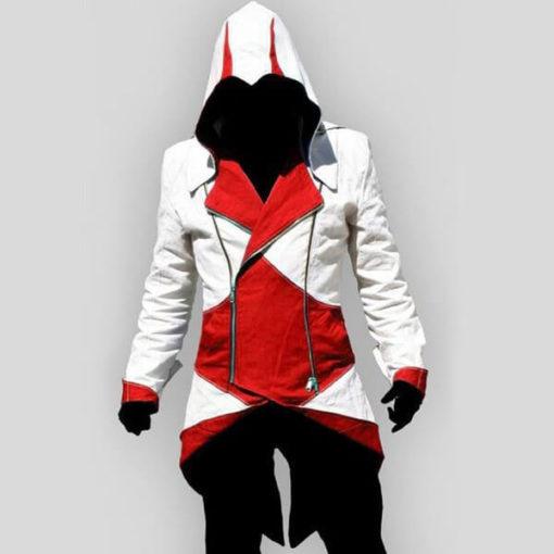 На картинке толстовка Ассасина exclusive (Ассасин крид), красно-белая, вид спереди.