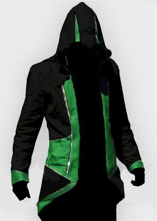 На картинке толстовка Ассасина exclusive (Ассасин крид), черно-зеленая, вид спереди.