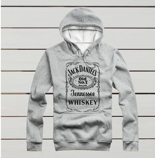 На картинке толстовка Jack Daniels (Джек Дэниэлс) 3 цвета, вид спереди, цвет серый.