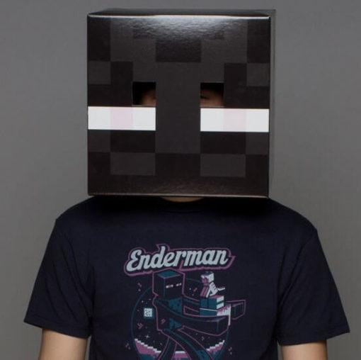 На картинке маски Майнкрафт (Minecraft) — 2 варианта, вид спереди, вариант Эндермен.