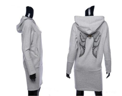 На картинке толстовка-платье с крыльями на спине (2 варианта), вид сзади и сбоку, цвет серый.