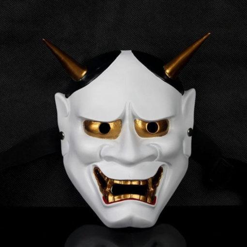 На картинке японская маска демона Ондеко (Кабуки), вид спереди, вариант Белая.