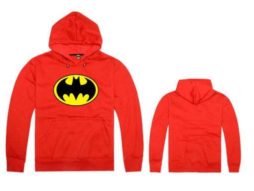 На картинке толстовка Бэтмен (5 цветов), вид спереди и сзади, цвет красный.