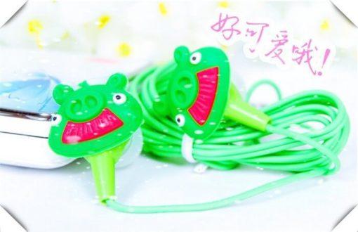 На картинке наушники Angry birds (Ангри берс) (5 вариантов), цвет зеленый.