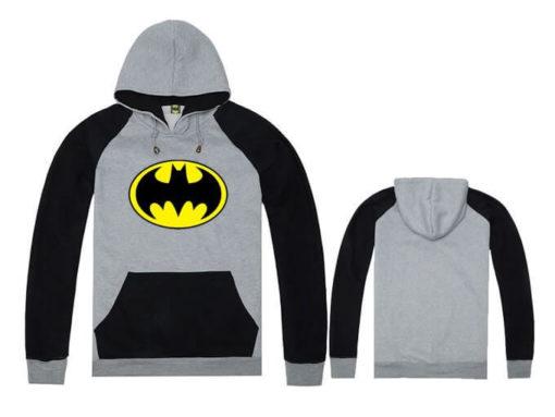 На картинке толстовка Бэтмен (5 цветов), вид спереди и сзади, цвет серый с черным.