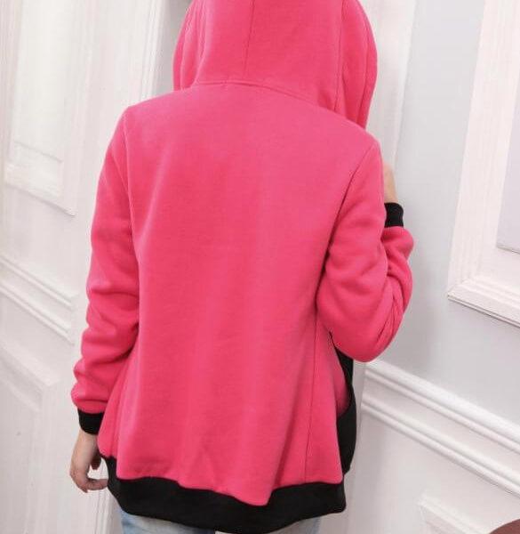 На картинке толстовка кот с ушками (ушами) на капюшоне (5 вариантов), вид сзади, цвет розовый.