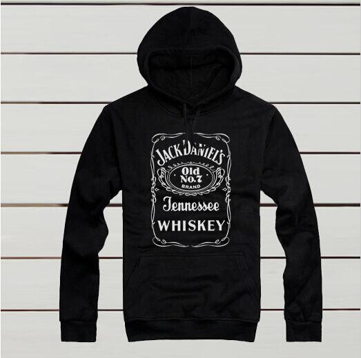 На картинке толстовка Jack Daniels (Джек Дэниэлс) 3 цвета, вид спереди, цвет черный.