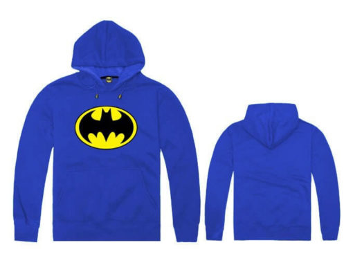 На картинке толстовка Бэтмен (5 цветов), вид спереди и сзади, цвет синий.