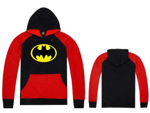 На картинке толстовка Бэтмен (5 цветов), вид спереди и сзади, цвет красный с черным.