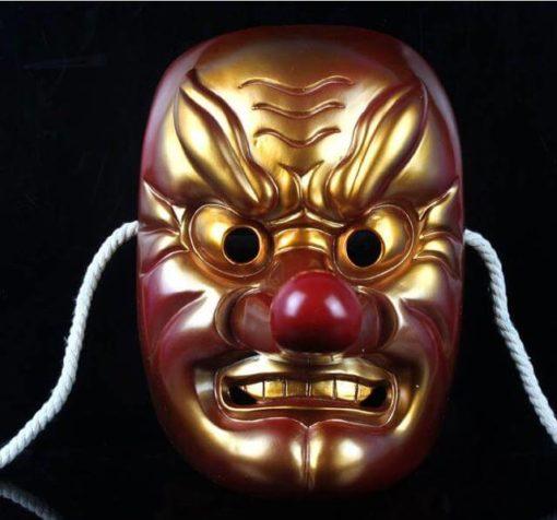 На картинке японская маска демона Тэнгу (Кабуки), вид спереди, вариант С бронзовым напылением.