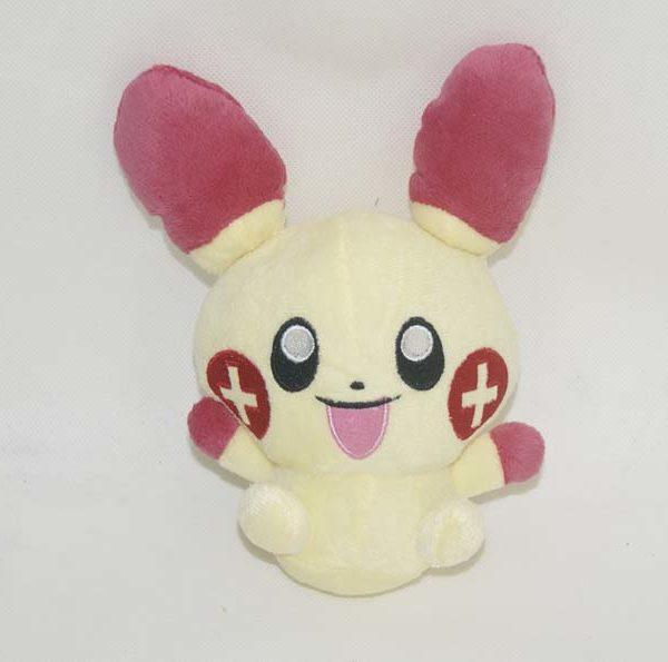 На картинке мягкая игрушка покемон «Плюсл и Минусл» (Покемон), вид спереди, вариант Красный.