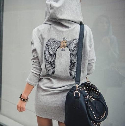 На картинке толстовка-платье с крыльями на спине (2 варианта), вид сзади, цвет серый.