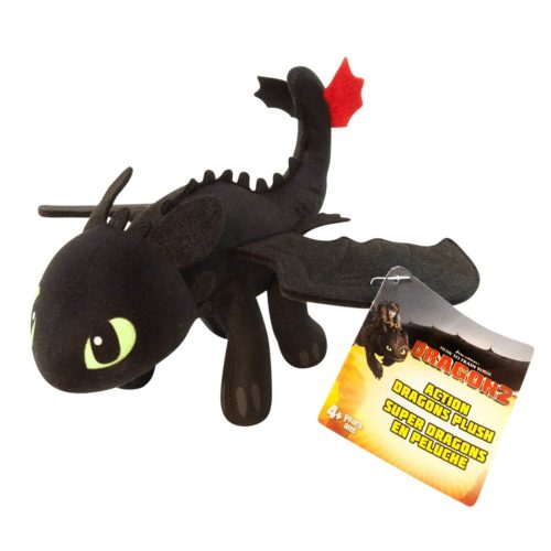 На картинке мягкая игрушка Беззубик (Ночная фурия) Как приручить дракона, общий вид.