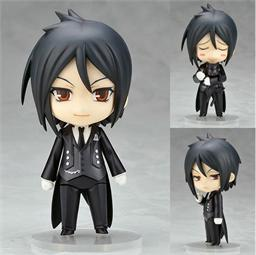 На картинке фигурка нендроид Себастьяна Темный дворецкий (Kuroshitsuji), вид спереди с разными лицами.