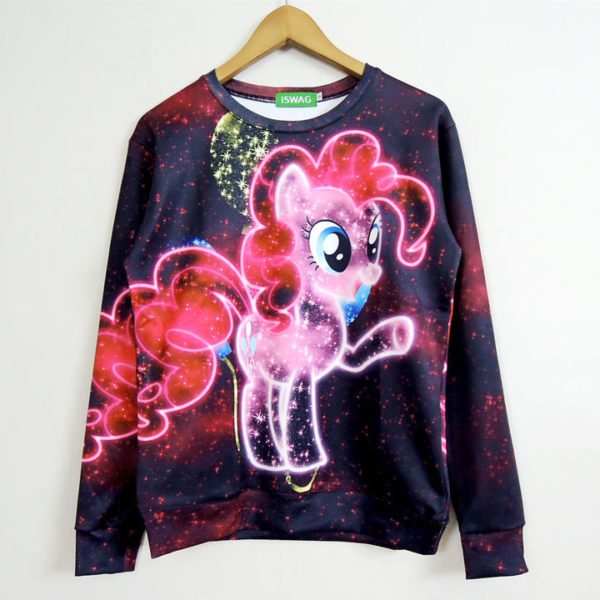 На картинке свитшот пони Пинки Пай (Pinkie pie) из «Мy little pony» (Дружба это чудо), вид спереди.