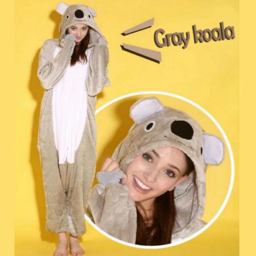 На картинке пижама-кигуруми «Коала» (2 варианта), детали и вид спереди, цвет серый.