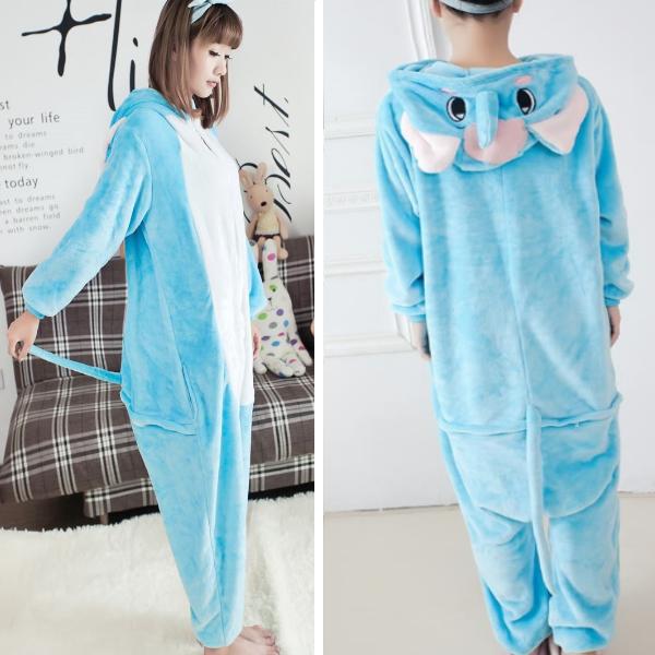 На картинке пижама-кигуруми «Слон», вид сбоку и сзади.