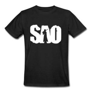 На картинке футболка Sword Art Online (5 цветов), вид спереди, цвет черный.