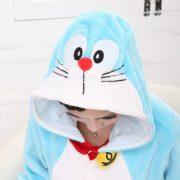Пижамы-Pigiama-животные-женские-Doraemon-полный-рукав-с-капюшоном-полиэстер-пижамы-наборы-Piyamas-взрослых-Onesie