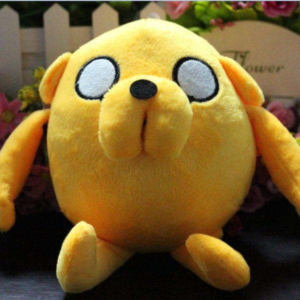 На картинке мягкая игрушка Джейк «Время приключений» (Adventure time) 2 варианта, вид спереди, вариант 20 см.
