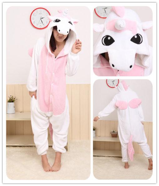 На картинке пижама-кигуруми «Единорог» (2 варианта), детали, цвет розовый.