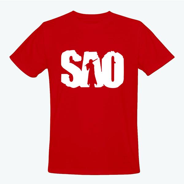 На картинке футболка Sword Art Online (5 цветов), вид спереди, цвет красный.