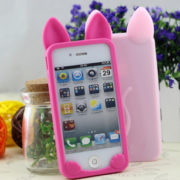 Силиконовый чехол с ушками на айфон 4-4S-5-5S (iPhone) фото