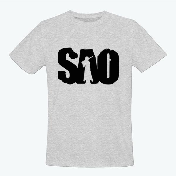 На картинке футболка Sword Art Online (5 цветов), вид спереди, цвет серый.