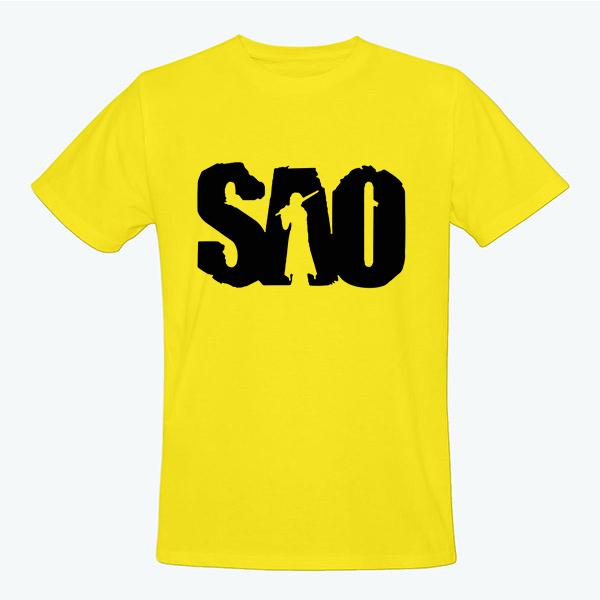 На картинке футболка Sword Art Online (5 цветов), вид спереди, цвет желтый.