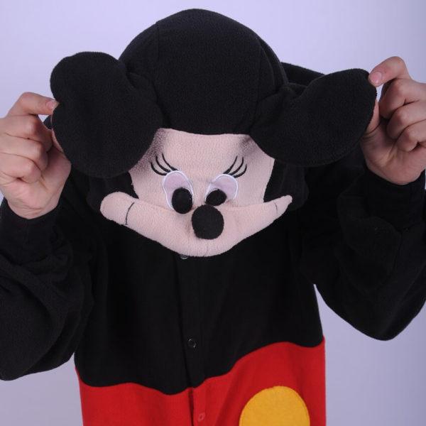 На картинке пижама-кигуруми «Микки маус» (Mickey Mouse) 2 варианта, вид спереди, вариант Микки.