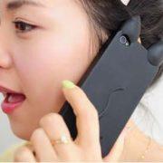 Силиконовый чехол с ушками на айфон 4-4S-5-5S (iPhone) фото фото