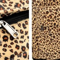 На картинке леопардовый рюкзак с ушками (ушами), детали.
