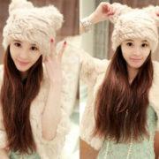 Зимняя меховая шапка с кошачьими ушками (ушами) фото