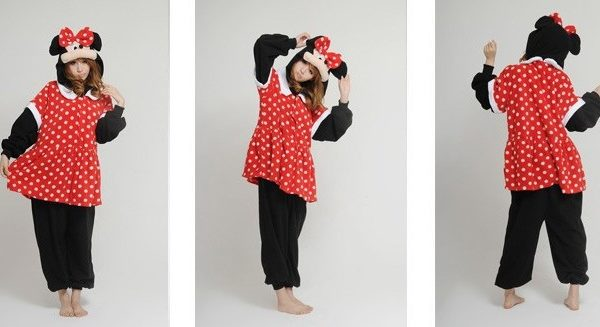На картинке пижама-кигуруми «Микки маус» (Mickey Mouse) 2 варианта, вид спереди и сзади, вариант Минни.