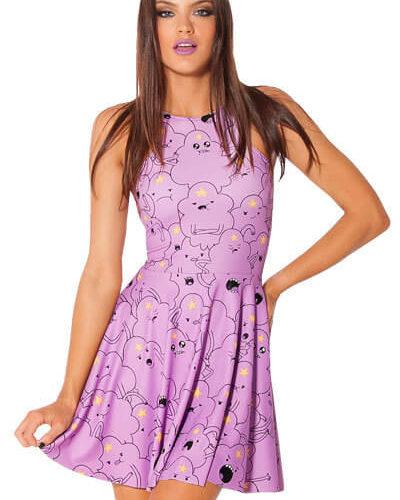 На картинке платье «Время приключений» (Adventure time) 5 вариантов, вид спереди, вариант Принцесса Пупырка.