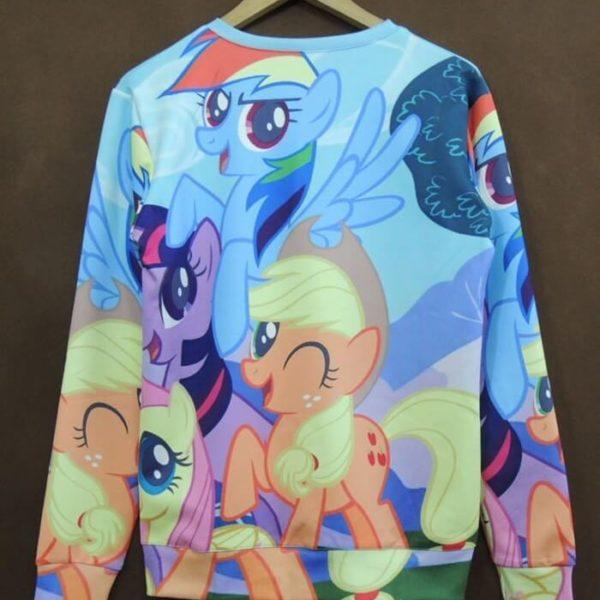 """На картинке свитшот """"Мy little pony"""" (Дружба это чудо), вид сзади."""