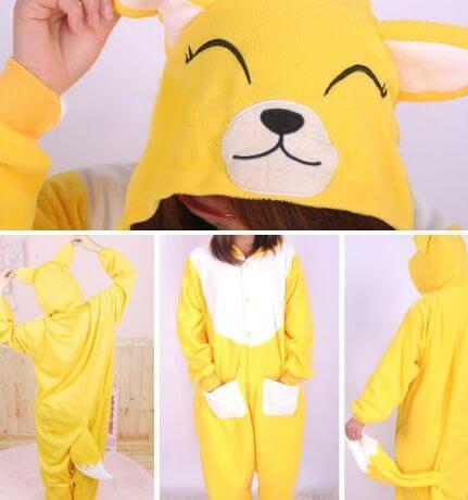 На картинке пижама-кигуруми «Лиса» (3 варианта), вид с разных сторон. вариант Желтая лиса.