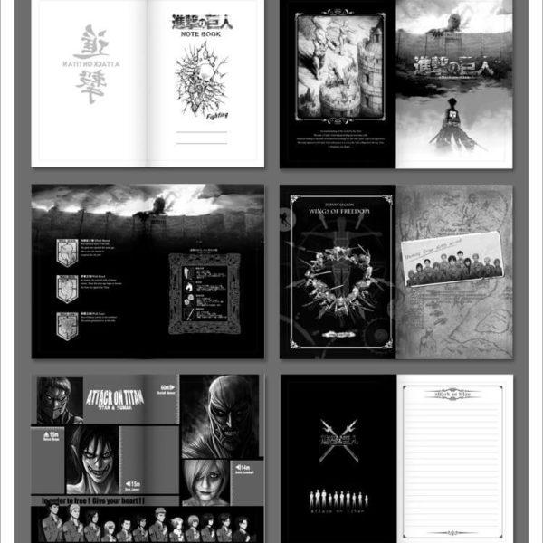 На картинке тетрадь-блокнот Атака Титанов, страницы.