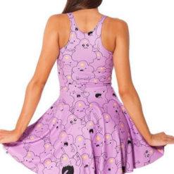 На картинке платье «Время приключений» (Adventure time) 5 вариантов, вид сзади, вариант Принцесса Пупырка.
