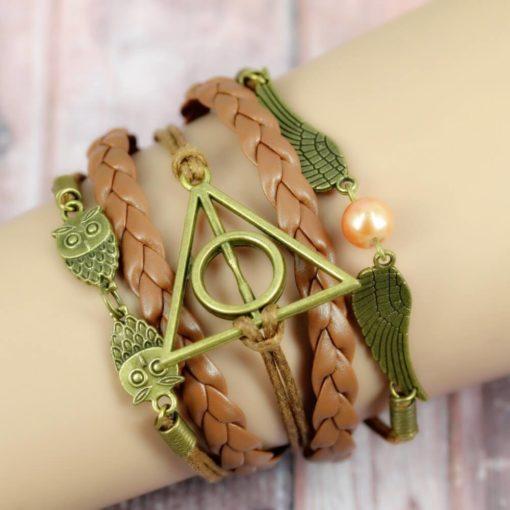 На картинке браслет со знаком «Даров смерти» (Гарри Поттер) — 3 варианта, вариант Коричневый.
