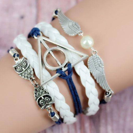 На картинке браслет со знаком «Даров смерти» (Гарри Поттер) — 3 варианта, вариант Серебряный.