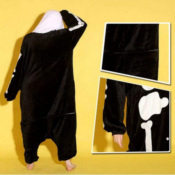 На картинке пижама-кигуруми «Скелет», детали.