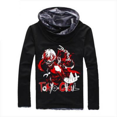На картинке толстовка Токийский гуль (Tokyo Ghoul), вид спереди, цвет черный.