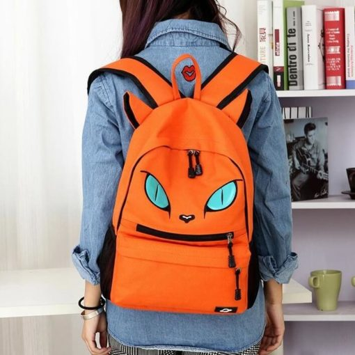 На картинке рюкзак кот с ушками (4 цвета), вид спереди, цвет оранжевый.