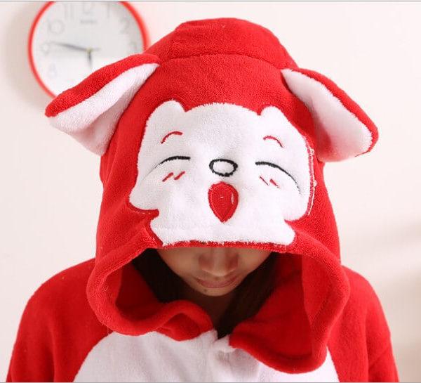 На картинке пижама-кигуруми «Лиса» (3 варианта), детали, вариант Красная лиса.