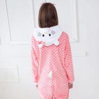 На картинке пижама-кигуруми «Hello kitty» (Хелло китти) 2 варианта, вид сзади, вариант 1.