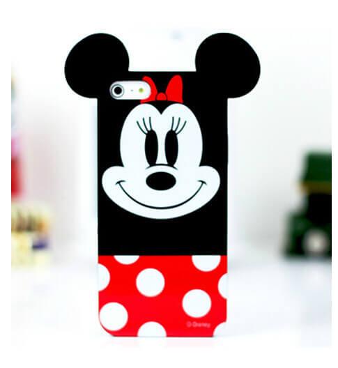 На картинке силиконовый чехол с ушками Микки и Минни на айфон 4-4S-5-5S (iPhone), вид спереди, вариант Минни.