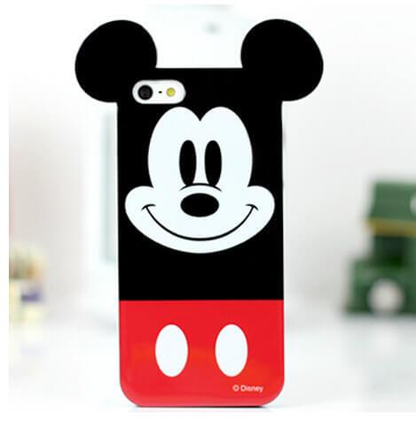 На картинке силиконовый чехол с ушками Микки и Минни на айфон 4-4S-5-5S (iPhone), вид спереди, вариант Микки.